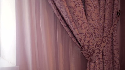 beautiful curtains in a hotel room close up