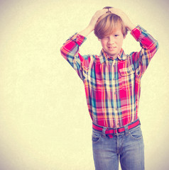 Loser child posing