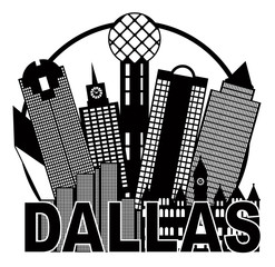 Dallas City Skyline Black and White Circle Vector Illustration