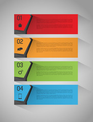 abstract vector banners with option steps, design template