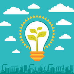 Light Bulb Green Energy - Illustration Business Concept