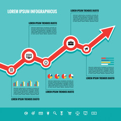 Business Graphic Up-Trend - Vector illustration in flat style