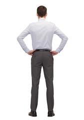 businessman or teacher from back