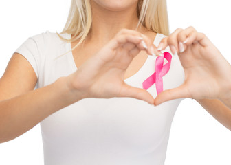young woman with pink cancer awareness ribbon