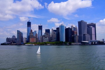 Manhattan panorama with ship