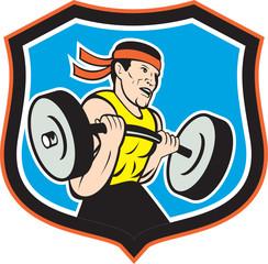Weightlifter Lifting Barbell Shield Cartoon