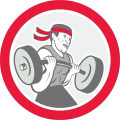 Weightlifter Lifting Barbell Circle Cartoon