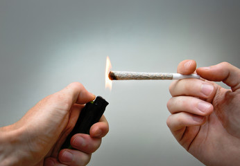 Burning marijuana joint