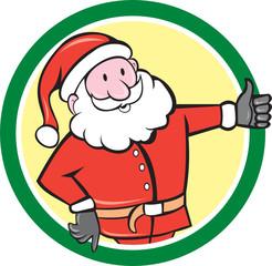 Santa Claus Father Christmas Thumbs Up Circle Cartoon