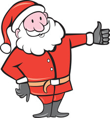 Santa Claus Father Christmas Thumbs Up Cartoon