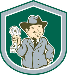 Businessman Rich Man Money Shield Cartoon