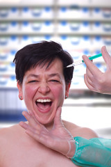 Panik vor der Botox Kosmetik- Injektion