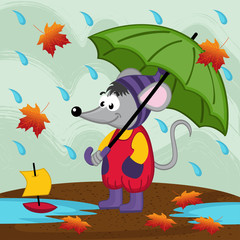 mouse in rain autumn - vector illustration, eps