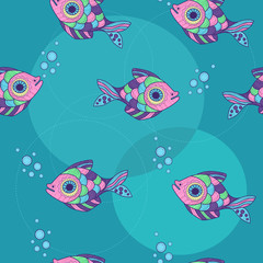 pattern with ornamental fish and bubbles