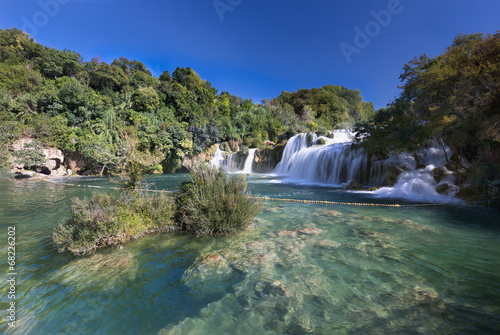 Leinwandbild Motiv Waterfall (Skradinski buk) in Krk National Park, Croatia