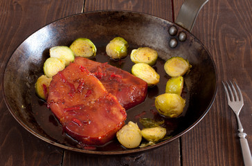 Brussels sprouts with smoked pork chops