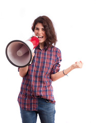 Girl celebrating with a megaphone
