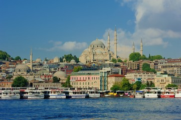 Suleymaniye Mosques with boats near the Goldenhorn