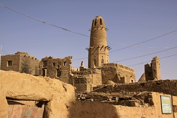 Scenery of Al-Qasr with minaret,Egypt