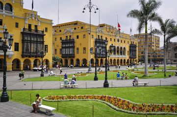 Lima municipal building city hall on Plaza Mayor Armas