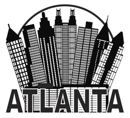Atlanta Skyline Circle Black and White Vector Illustration