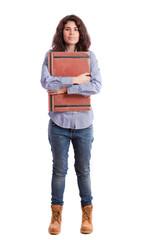 Smug student holding a folder