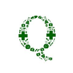 Letter Q, alphabet of medicine pills