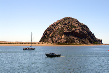 Morro Rock and Morro Bay, Big Sur, California, USA..