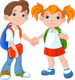 Fototapety Boy and girl ready to school