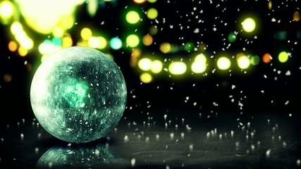 Blue Orb Snow 3D Bokeh City Background Loop Animation