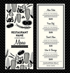 Black and White Restaurant Menu Design Template Layout