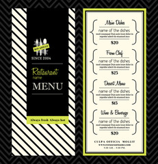 Modern Restaurant Menu Design Template Layout