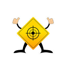 Yellow road sign with target pictogram