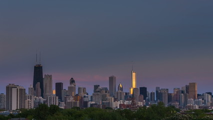 Chicago downtown skyline day to night time lapse