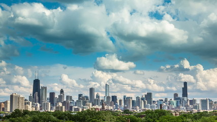 Chicago Skyline City Time lapse with blue sky and cloud Dynamic
