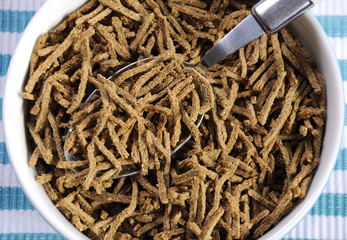 Healthy diet high dietary fiber breakfast bran close up