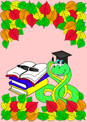 pink frame with autumn leaves, books and snake