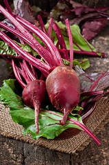 Beetroots on wooden background