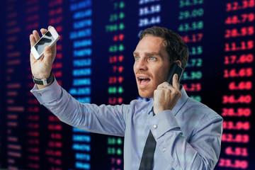 Busy financial broker
