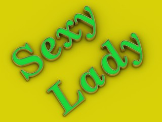 Sexy lady words - inscription of golden letters on yellow