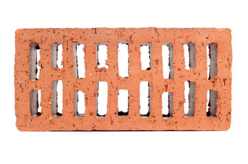 Red Perforated Brick Isolated on White Background