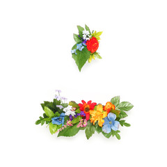 Period and dash made of leaves and flowers