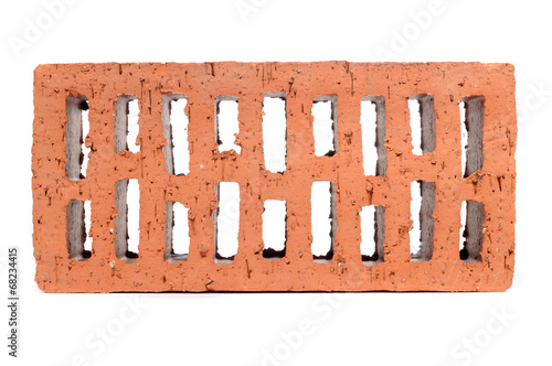 Red Perforated Brick Isolated on White Background - 68234415