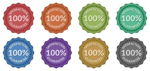 100% Satisfaction Guarantee Retro Style Badges (8 styles)