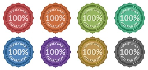 100% Money Back Guarantee Retro Style Badges (8 styles)