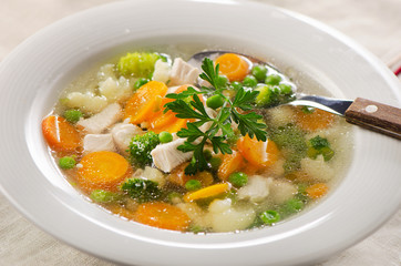 Chicken soup  with  vegetables.