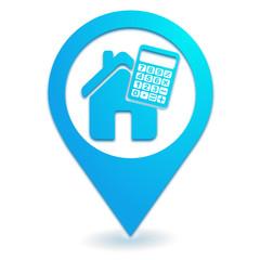 calculatrice immobilier sur symbole localisation bleu