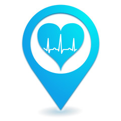 cardiologue sur symbole localisation bleu