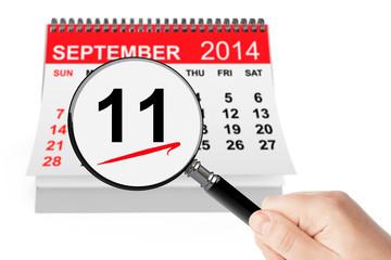 911 Never Forget Concept. 11 september 2014 calendar with magnif