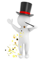 3d man with magic wand and hat